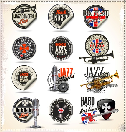 jazz music: Jazz music badges and labels