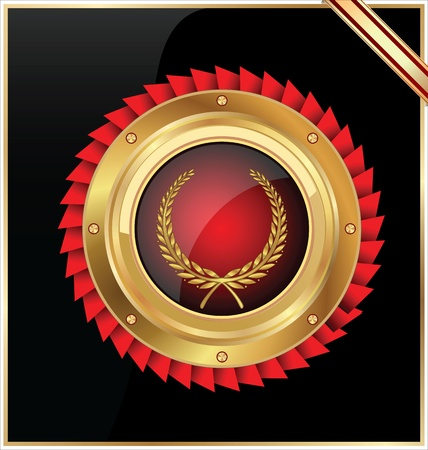 golden laurel wreath: Vector round gold and red glossy label