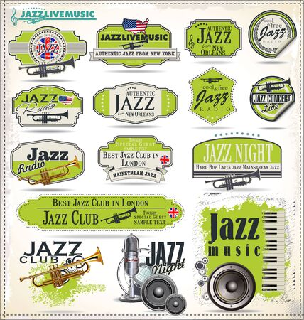 jazz dance: Jazz music badges and labels