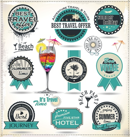Retro style travel and vacation labels Vector