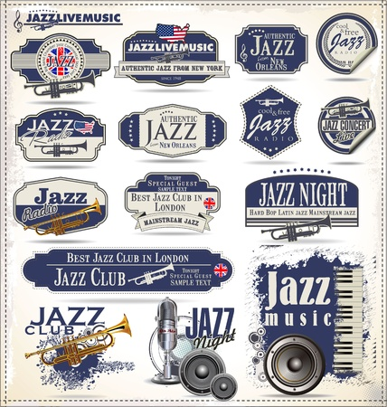 mixer console: Jazz music badges and labels