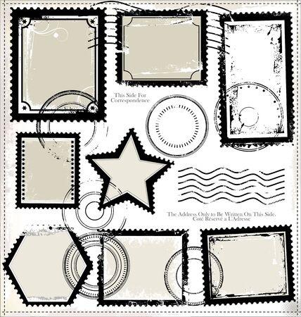 Post stamp set Иллюстрация