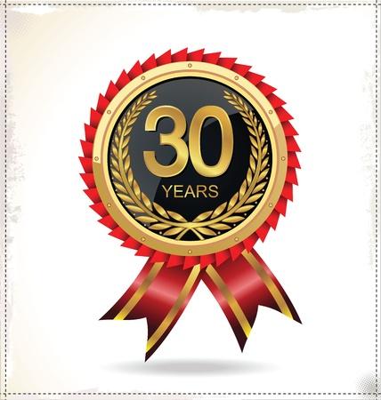 celebração: Etiqueta dourada Anivers Ilustração