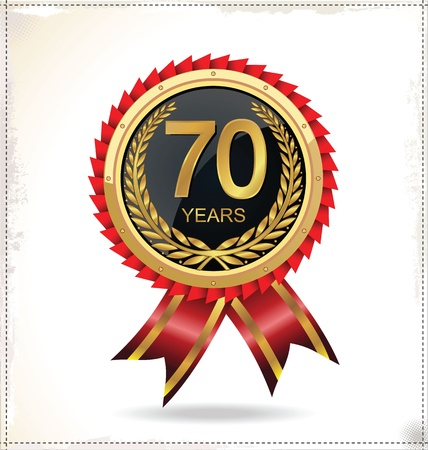 Anniversary golden label Stock Vector - 20882782