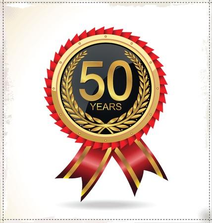 feier: Jahrestag goldenen Etikett Illustration