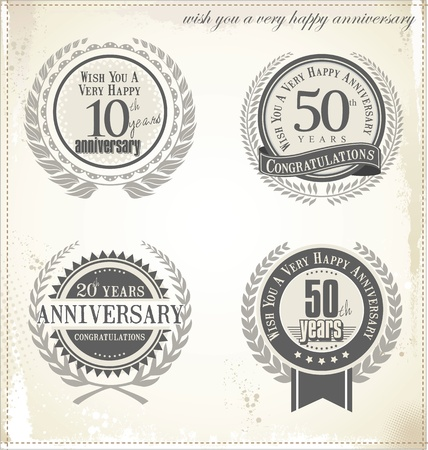 remembered: Anniversary label with ribbon and Laurel wreath