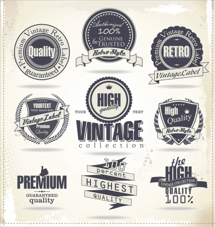 label vintage: Premium quality labels Illustration