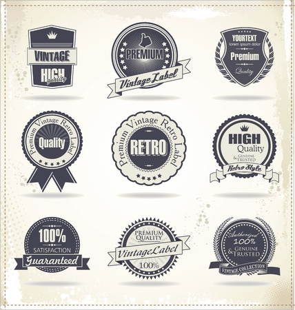 round: Premium quality labels Illustration