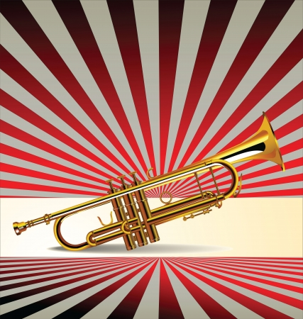fanfare: Retro music background with trumpet, vector