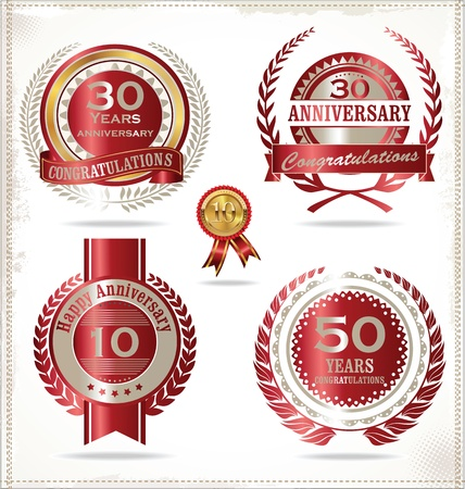 anniversary backgrounds: Anniversary retro labels