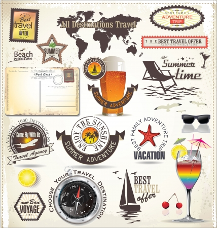 Travel and vacation emblems and symbols Vector