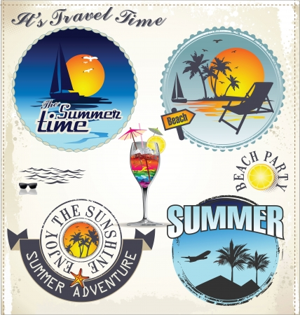 compass rose: Summer vacation and travel labels Illustration