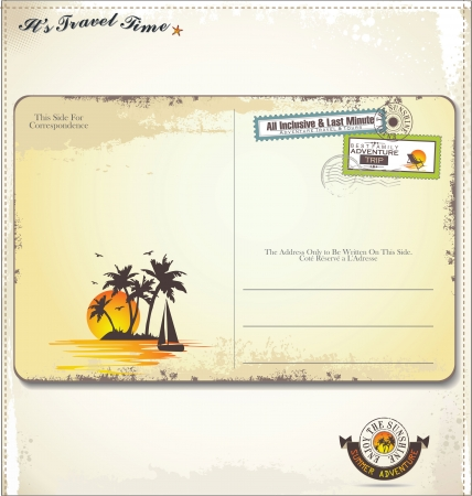 timbre voyage: Carte postale de cru d'été Illustration