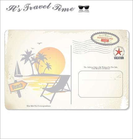 Vintage summer postcard Vector