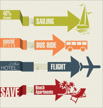Travel infographics options banner with arrow  Vector