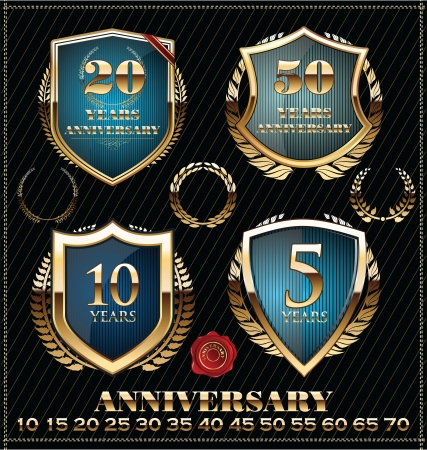 badge shield: Anniversary golden labels Illustration