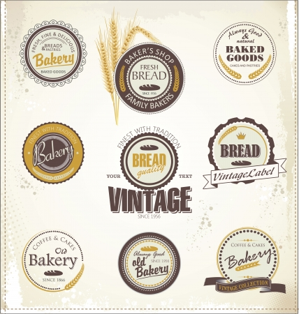 donut shop: Vintage Retro Bakery Badges And Labels