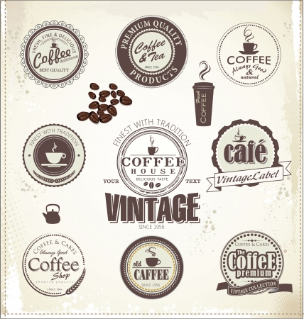cup of coffee: Set Of Vintage Retro Coffee Badges Illustration