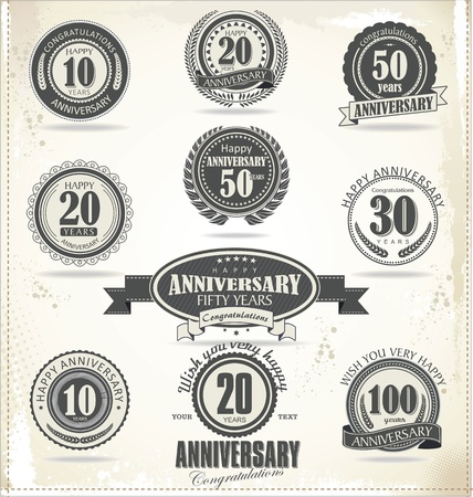 10 years: Anniversary sign collection, retro design