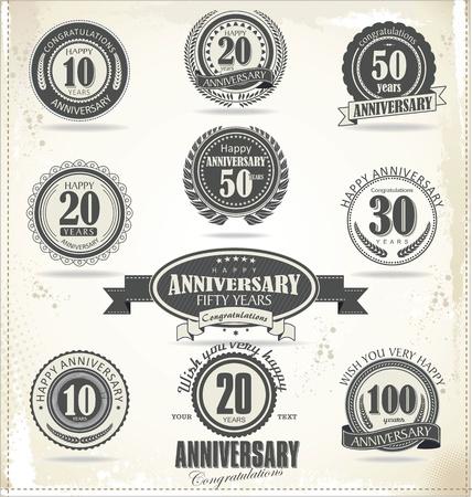 badges: Anniversary sign collection, retro design