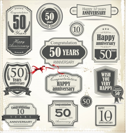 Anniversary sign collection, retro design Stock Vector - 21317349
