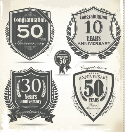 badge shield: Anniversary sign collection, retro design