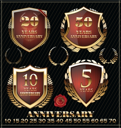 Anniversary sign collection, retro golden design Vector