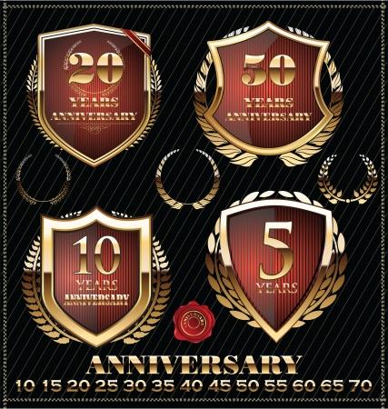 sport celebration: Anniversary sign collection, retro golden design