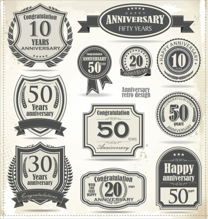 Anniversary sign collection, retro design Stock Vector - 21317352