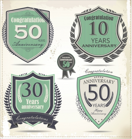 60 70: Anniversary sign collection, retro design