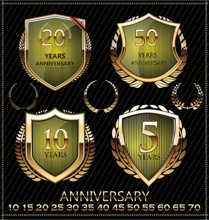 Anniversary sign collection, retro design Stock Vector - 21723756
