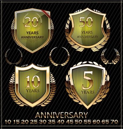 commemoration: Anniversary sign collection, retro design