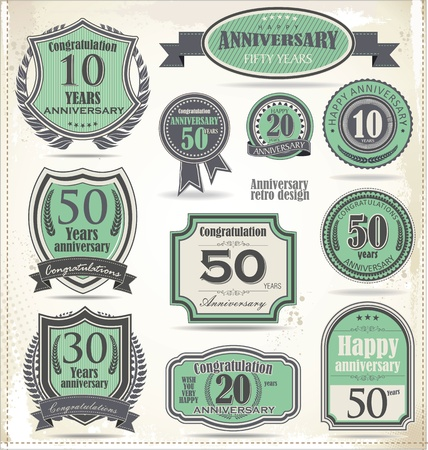 Anniversary sign collection, retro design Stock Vector - 21723758
