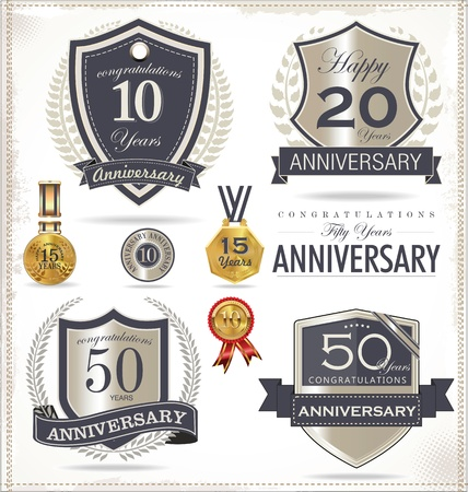 80 years: Anniversary sign collection, retro design