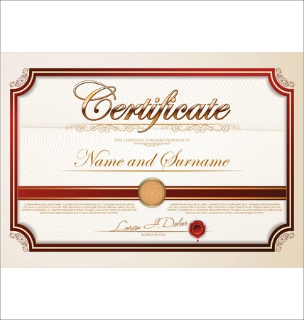achievement clip art: Certificate template Illustration