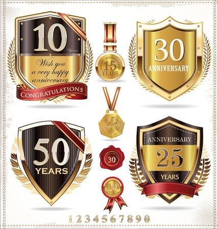 number 50: Anniversary golden labels Illustration