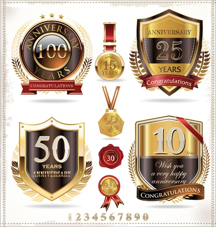 80 years: Anniversary golden labels Illustration