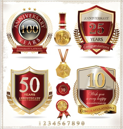 remembered: Anniversary golden labels Illustration
