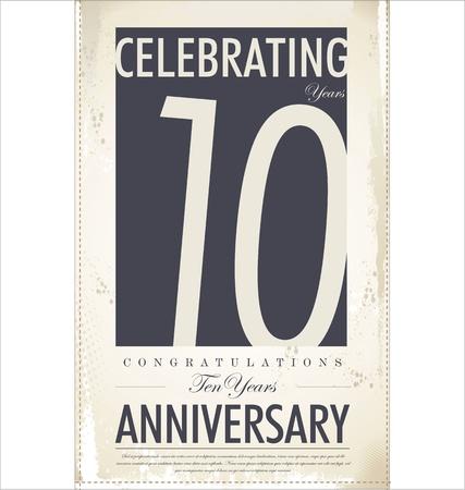 anniversario di matrimonio: 10 anni anniversario sfondo retr� Vettoriali