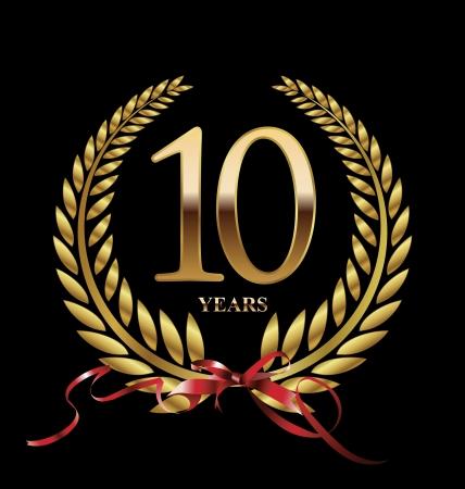 10 años etiqueta de oro del aniversario Foto de archivo - 21823368
