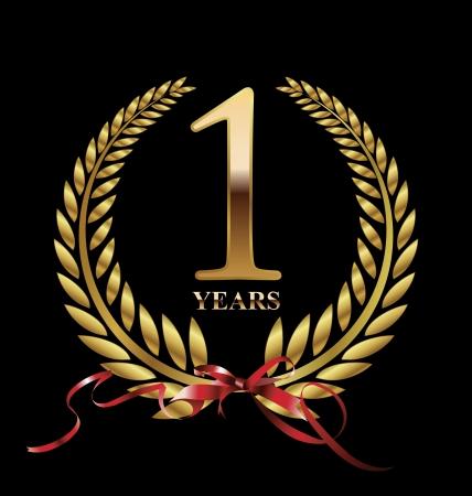 1 year anniversary: 1 year Anniversary Golden label  Illustration