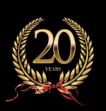 20 years Anniversary Golden label  Ilustração