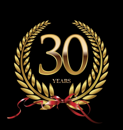 30 years: 30 years Anniversary Golden label  Illustration
