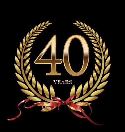 anniversary party: 40 � anniversario di etichette d'oro
