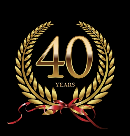 40th: 40 years Anniversary golden label Illustration