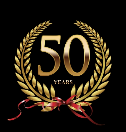 50 years Anniversary golden label Ilustracja