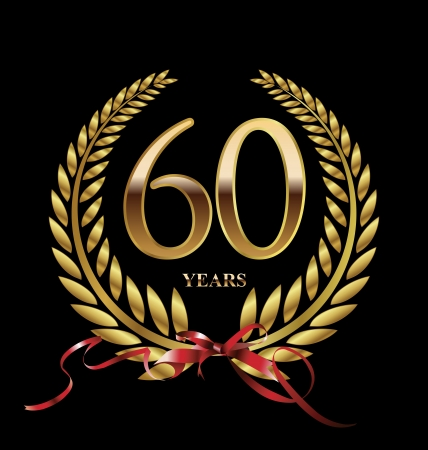 60 years: 60 years Anniversary golden label Illustration