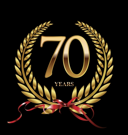 70 years: 70 years Anniversary golden label Illustration