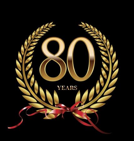 80 jaar jubileum gouden label Stock Illustratie