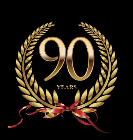 90 years: 90 anni Anniversario etichetta dorata